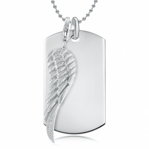 Wing & Dog Tag Necklace, Personalised, Sterling Silver