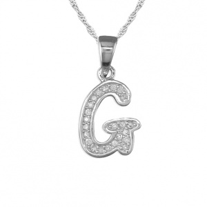 Girls Initial/Letter G Necklace Cubic Zirconia & Sterling Silver