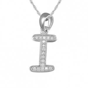 Girls Initial/Letter I Necklace Cubic Zirconia & Sterling Silver