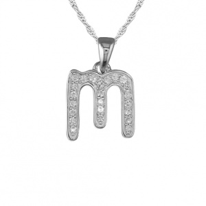 Girls Initial/Letter M Necklace Cubic Zirconia & Sterling Silver