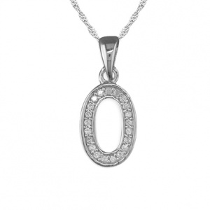Girls Initial/Letter O Necklace Cubic Zirconia & Sterling Silver