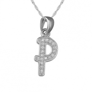 Girls Initial/Letter P Necklace Cubic Zirconia & Sterling Silver