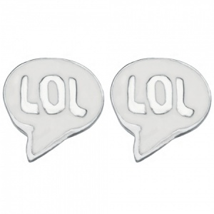 LOL Speech Bubble Earrings, Stud, 925 Sterling Silver