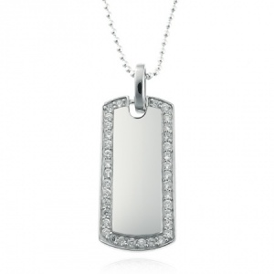 Dog Tag with White Cubic Zirconia Border 925 Sterling Silver (can be personalised)