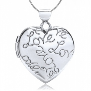 Love Heart Engraved Locket, Personalised, 9ct White Gold
