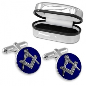 Masonic Round Sterling Silver & Enamel Cufflinks (can be personalised)