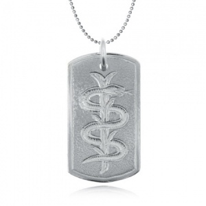 Medical Alert Snake & Staff Sterling Silver Dog Tag (can be personalised)