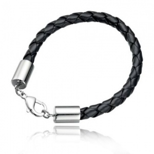 Mens Black Leather & Stainless Steel Bracelet with Lobster Clasp