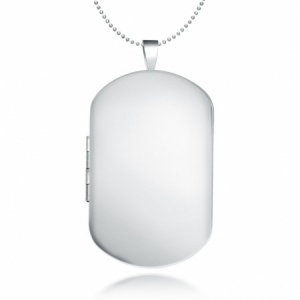 Men's Dog Tag Locket Necklace, Personalised/Engraved, 925 Sterling Silver