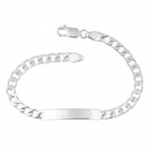 Mens Identity/ID Bracelet, 925 Sterling Silver (Personalised/Engraved), 6.5mm wide, 8.5 Inches Curb Chain