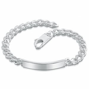 Men's 9 Inch Identity Bracelet, Personalised, Sterling Silver