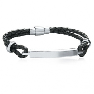 A Mens ID Bracelet, Black Leather & Stainless Steel (can be personalised)