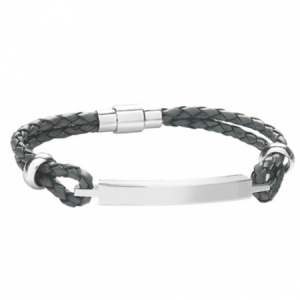 A Mens ID Bracelet, Grey Leather & Stainless Steel (can be personalised)