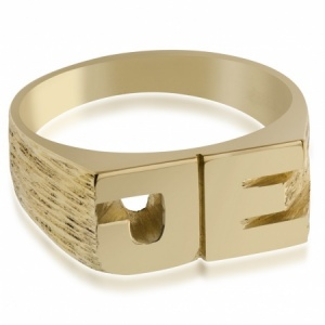 Mens Initials Ring, 9ct Yellow Gold, Hallmarked, Personalised upto 5 characters
