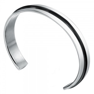 Mens Stainless Steel Bangle, Personalised with Black Stripe by Fred Bennett