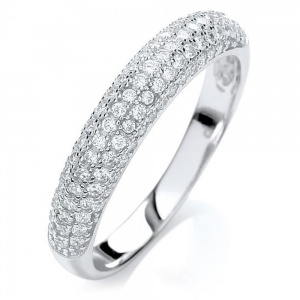 Micro Pave-set Domed Sterling Silver Ladies Ring - Sizes J - Q