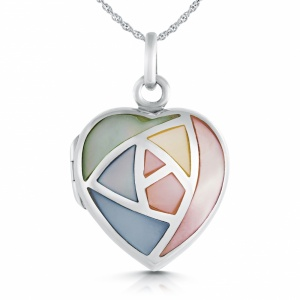 Mother of Pearl Inset Heart Locket, Personalised, Sterling Silver