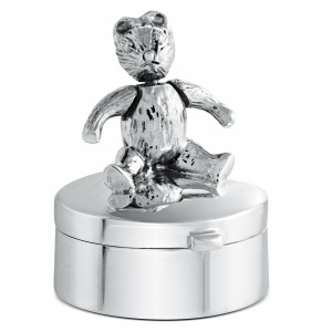 Movable Teddy Bear 1st Curl/Tooth Box, Personalised, Sterling Silver