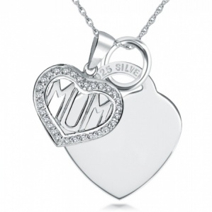 Mum Cubic Zirconia Heart with Heart Sterling Silver Necklace (can be personalised)