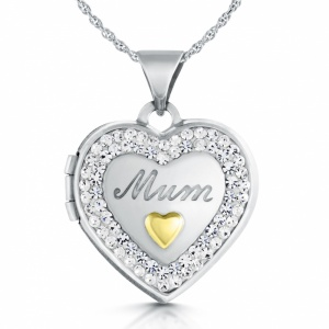 Mum Heart Locket, Personalised, Cubic Zirconia & Sterling Silver