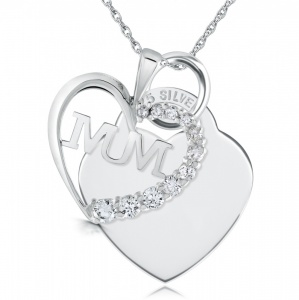 Mum Cubic Zirconia & Sterling Silver Heart Necklace (can be personalised)