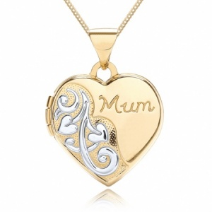Mum Heart Locket, 9ct Yellow & White Gold, Personalised/Engraved