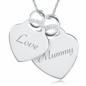 Mummy, Love Double Heart Shaped Sterling Silver Necklace (can be personalised)