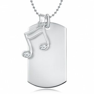 Music Note & Dog Tag, Personalised, Sterling Silver