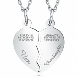 Nanna, Granddaughter, Split Heart Necklace, Personalised, 925 Sterling Silver