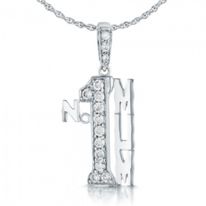 Number 1 Mum Necklace, Sterling Silver with Cubic Zirconia