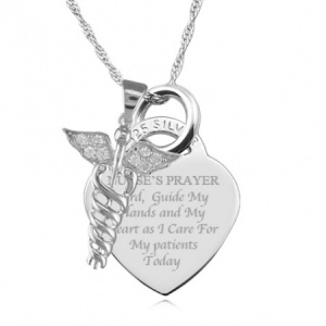 Nurse or Doctor Graduation Pendant/Necklace - 925 Sterling Silver Personalised/Engraved