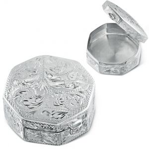 Octagon Trinket Box (Pill Box), Sterling Silver, Engraved Pattern, Hallmarked
