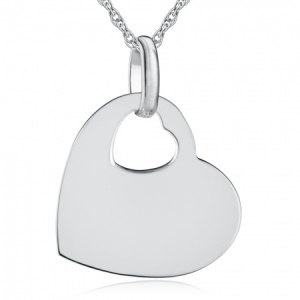 Offset Heart Necklace, Personalised, Sterling Silver