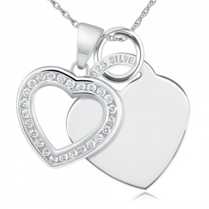 Open Heart Cubic Zirconia and Sterling Silver Heart Necklace (can be personalised)