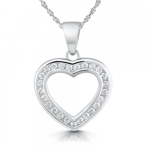 Open Heart Cubic Zirconia Sterling Silver Necklace
