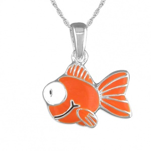 Children's Goldfish Necklace, Sterling Silver