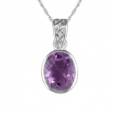 Galleried Edge Oval Amethyst Sterling Silver Necklace