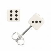 Dice Earrings, Studs, Sterling Silver