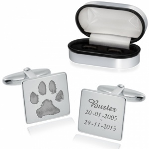 Paw Print Cufflinks, Personalised, 925 Sterling Silver, Square