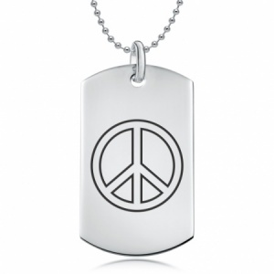 Peace Symbol Dog Tag Necklace, Personalised, Sterling Silver