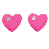 Pink Heart Earrings, Cubic Zirconia & Sterling Silver