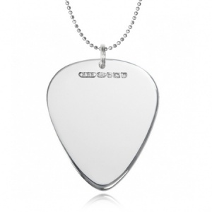 Plectrum Necklace, Personalised/Engraved, 925 Sterling Silver, Hallmarked