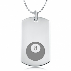 No. 8 Pool Ball Dog Tag, Personalised / Engraved 925 Sterling Silver