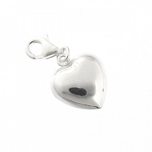Puffed Heart Charm Sterling Silver with Lobster Clasp