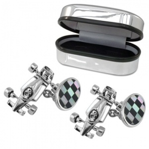 Racing Car Cufflinks with Chequered Flag, Personalised, Sterling Silver