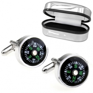 Real Working Compass Cufflinks with Chrome Box (can be personalised)