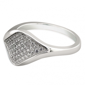 Cubic Zirconia Leaf Shaped Ring Sterling Silver