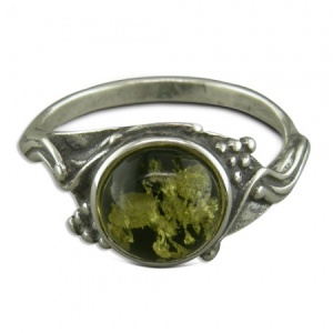 Round Green Amber With Grapes Ring Sterling Silver