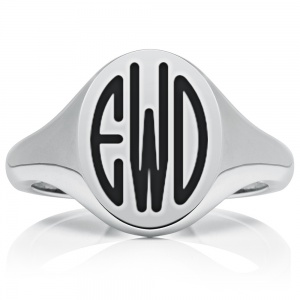 Oval Monogram Signet Ring, Mens Personalised Heavyweight Sterling Silver