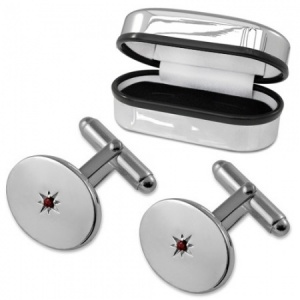 Ruby Oval Sterling Silver Cufflinks (can be personalised)